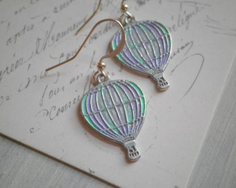 Hot Air Balloon Dangle Earrings - Silver Balloon Dangles -  Hand Painted Pastel Purple & Aqua Blue Up And Away Earrings Jewelry Gift for Her