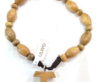Rosario bracelet with Tao handmade olive wood