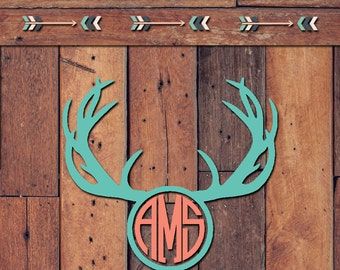 Deer Antler Monogram Decal | Yeti Decal | Yeti Sticker | Tumbler Decal | Car Decal | Vinyl Decal