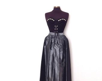 60's high waisted, supermodel length, metallic sliver grey skirt. Grey tafetta skirt. Size extra small XS