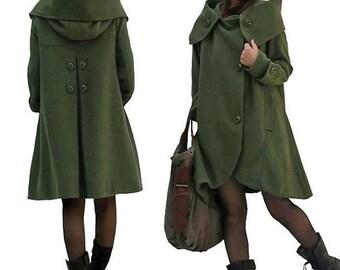 dark green coat Winter ,Women Wool Winter long Coat, Hooded Cape cloak coat,Christmas Gift Coat