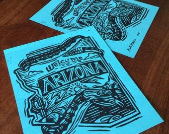 Welcome to Arizona - Linoleum Block Print