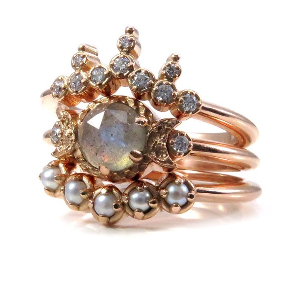 Moon and Sea Goddess Engagement Ring Set - Rose, Yellow or White Gold - Rose Cut Labradorite