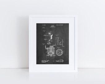 Carburetor 1898 Patent Poster, Henry Ford, Automotive Art, Garage Decor, Car Part Art, PP0273