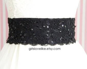 Black  Beaded Alencon Lace Sash Belt, Bridal Sash, Bridesmaid Sash, Wide Black  Lace Sash