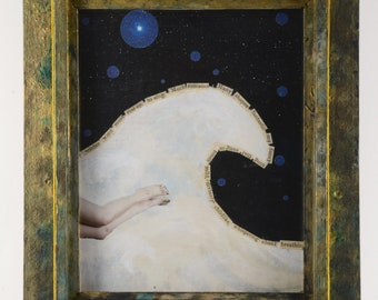 Ripple:  framed original mixed media collage,assemblage art, blue, white, mermaid, found poem, stars, wave by Leslee Lukosh of Foundturtle.