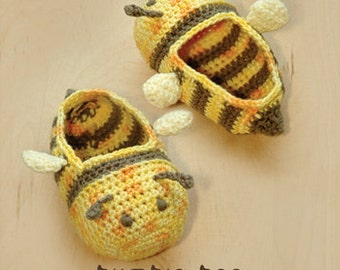 Bumble Bee Baby Booties Preemie Socks Animal Shoes Slippers Crochet Pattern (BB01-Y-PAT)