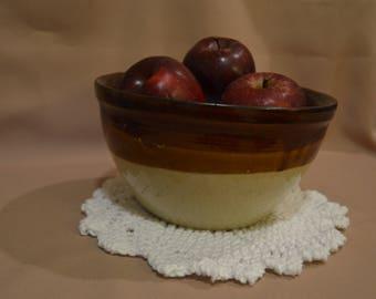 Vintage Two-Tone Earthenware Mixing Bowl