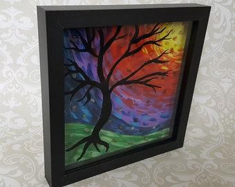 "Artwork ""Chakra Tree"" - Acrylic 8x8 Painting - Colorful Chakra Art - Chakra Stones Art - Shadowbox Tree Art - Free Shipping"