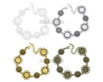 12mm Round Bezel Bracelet Blanks Forms fit 12mm Round Cabochons, Marbles, Resin, Buttons, Etc. Sunflower Connectors 5 PCS M153