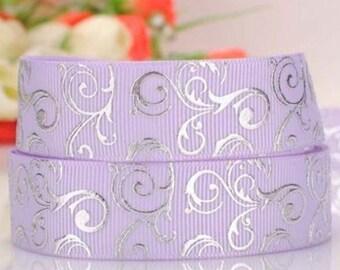 "7/8"" 22mm Violet-Geometric-Grosgrain Ribbon-by yard-Craft Supplies-Scrapbook-HairBow-Girl-Silver-Headband"
