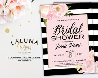 Bridal Shower Invitation, Floral Black & White Stripe Bridal Shower Invite, Pink and Gold Glitter Bridal Shower, Printable