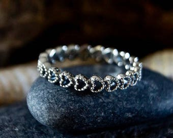Authentic Sterling Silver Linked Love Ring Clear CZ, Linked Love Small Hearts Ring