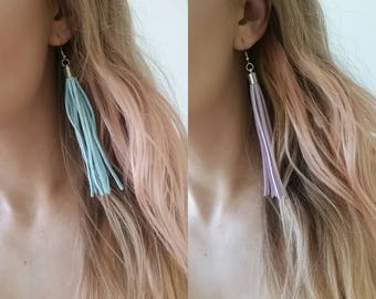 Suede tassel earrings avail in purple or blue