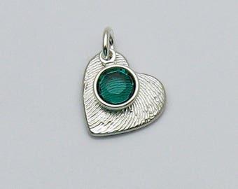 Fingerprint Jewelry, Silver Heart Fingerprint Charm with Birthstone Charm, Birthstone Jewelry, Fingerprint and Birthstone, Personalized