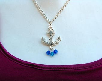Silver-tone Anchor Pendant Necklace With Crystal and Bead Embellishments