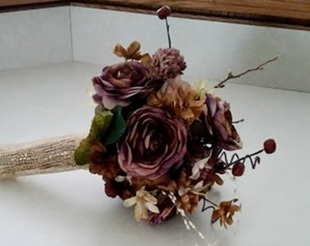 Wedding Flower Bouquet 2 piece set boutonniere bridal accessories Rustic AmoreBride original Plums Browns Gold Fall Winter