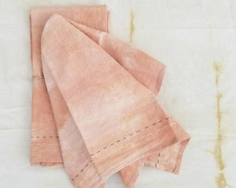 Hemp Tea towels - Naturally Dyed - Hand Dyed - Hand Stitched Embellishments