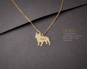 14K Solid GOLD Tiny FRENCH BULLDOG Name Necklace - Frenchie Necklace -Gold Dog Necklace - 14K Gold or Rose Plated on 14k Gold Necklace