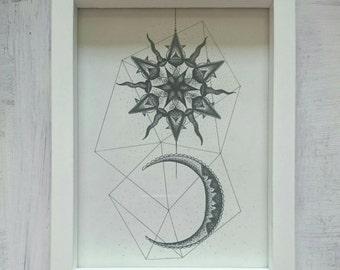 Stippled Sun and Moon Print