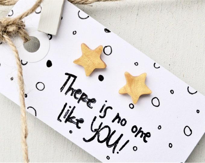 Little star handmade earrings, cute handmade earrings, gold star earrings, Christmas gift for her, special gift for her, MichaelaCraft