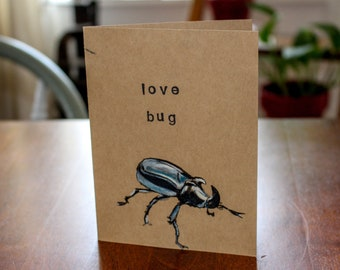 Love Bug Love Card - Rhinoceros Beetle - Insect Anniversary Card