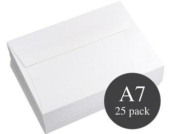 25 - A7 White Metallic Straight Flap Envelopes - 5 1/4 x 7 1/4 - Crystal