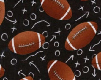 Timeless Treasures - All Star Sports - Footballs - Black - Fabric by the Yard C1228-BLK