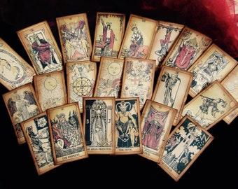 LARGE Antiqued Tarot Card Deck, COLOR TINTED, 22 Major Arcana