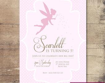 Printable Fairy Birthday Party Invitation / Customisable Digital File / JPG or PDF / Pink, White