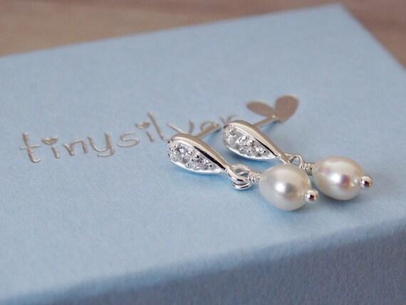 Silver & Pearl Stud Earrings - Sterling Silver