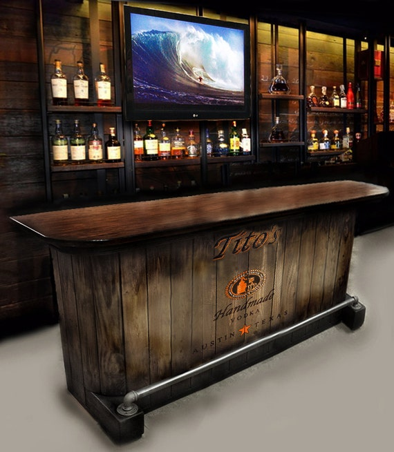 Home Bar Custom Hand Built Rustic Whiskey, Pub, Man Cave, Barn U Ship.  Built To Order. Customized Requests. Personalized Logos
