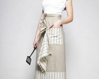 Linen Half Apron and Kitchen Towel/ Chef Apron/ Linen Pinafore Apron/ Waist Apron/ Flax Cafe Apron/ Luxury Gift Linen/ Women Apron