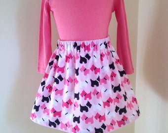 Girls skirt, Robert Kaufman pink Scottie dogs, age 4 to 5, lined