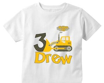 Personalized 3 years old birthday bulldozer shirt