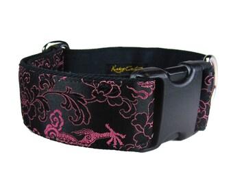 Black and Pink Dog Collar, Girl Dog Collar, Female Dog Collar, Dragon Dog Collar, Wide Dog Collar, Soft Dog Collar, Custom Dog Collars