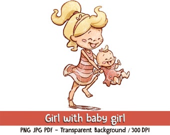 Cute Girl with baby girl - Digital Download. Clip art and digital illustration, PNG JPG PDF 300 dpi