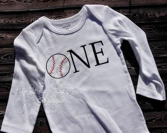 Baseball First Birthday Outfit- First Birthday- Personalized- 1st Birthday Outfit- Baseball Birthday- 1st Birthday- One- Birthday Shirt