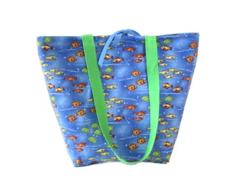 Fish Tote Bag, Blue Handmade Handbag, Fabric Bag, Tropical Fish, Goldfish Bag, Shoulder Bag, Cloth Purse, Water
