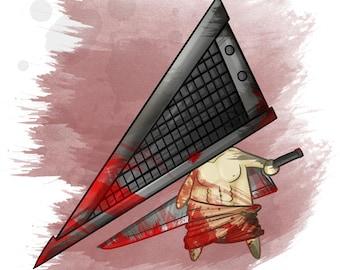 Chibi Pyramid Inspired - Horror Film Fan Art [ Print ] - by Denis Caron - Corvink
