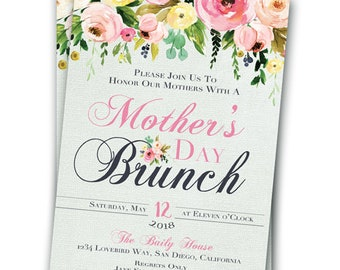 Mother's Day Brunch Mothers Day Invitation Luncheon Invitation 5x7 Printable Spring Mother's Day Invite Mother's Day Party Mother's Day Tea