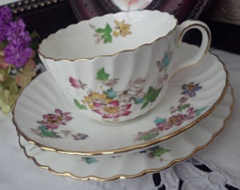 Minton Vermont Trio, Mid Century China, Minton Teacup, Saucer, and Dessert Plate, Bright Flor, Gold Trim, Gift for Her, Mother's Day Gift
