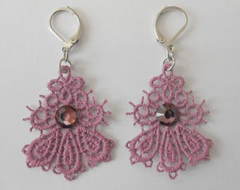 Small mauve lace earrings and steel stainless