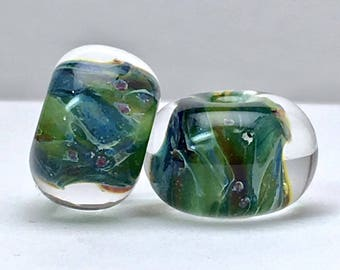Boro lampwork glass bead pair for earrings by paulbead encased beads sparkle sea green borosilicate glass beads for jewelry making