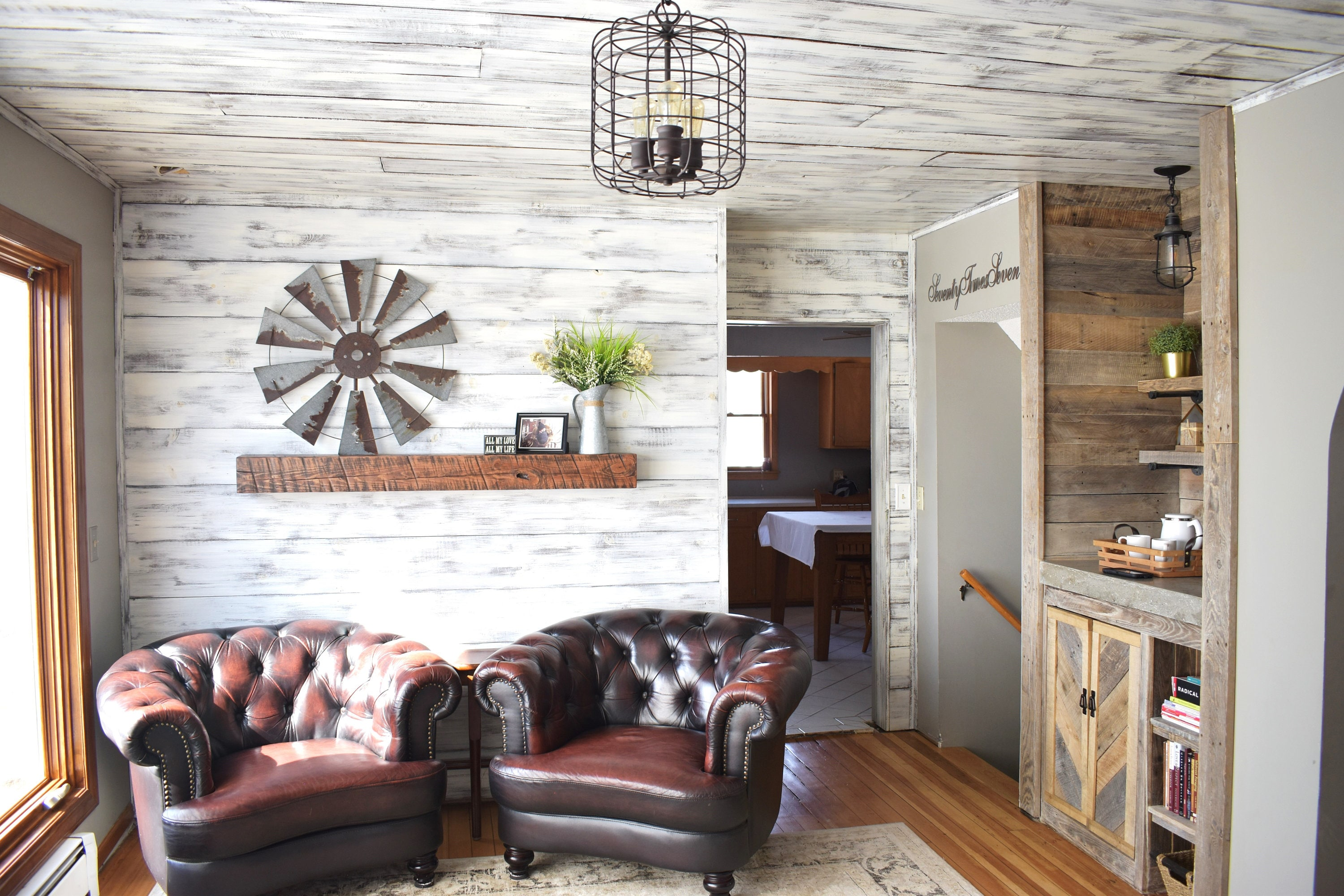 shiplap distressed white  brown siding wood siding interior