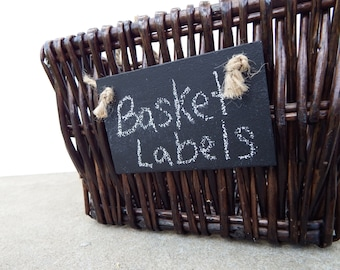 Set of 10 Handmade Chalkboard Basket Labels w/ Jute - Reusable Chalkboard Tags-Basket Tags-Garden Markers-Place Settings
