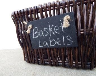 Lot de 3 tableau fait main panier étiquettes w / Jute - tableau réutilisable Tags-panier Tags-jardin marqueurs-couverts