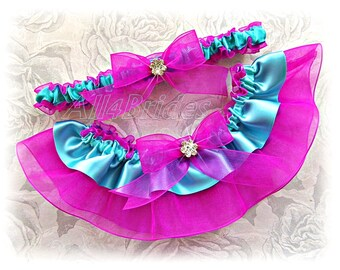 Weddings bridal garter set - Fuchsia and Aqua Blue - Bridal or Prom garters - Something Blue