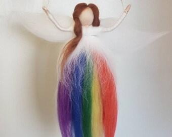 Needle felt fairy, rainbow fairy, needle felt rainbow, rainbow mobile, rainbow nursery decor, felted fairy, Waldorf inspired, Pride, LGBT