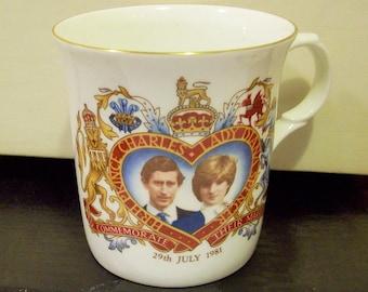 Wedding HRH Prince Charles and Lady Diana Wedding Cup Royal Wedding Mug Vintage 1981  skubx4